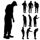 Vector silhouette of old people. Royalty Free Stock Photo
