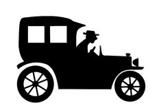 Vector silhouette of the old-time car. On white background Royalty Free Stock Photos