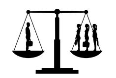 Vector silhouette of one man and three women on the scales of justice stock photography