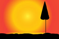 Vector silhouette of a parasol. Stock Image