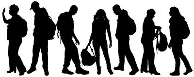 Vector silhouette of a people with a backpack. Stock Photo