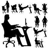 Vector silhouette of a people with a computer. Stock Photos