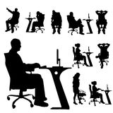 Vector silhouette of a people with a computer. Royalty Free Stock Image