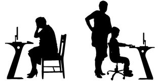 Vector silhouette of a people with a computer. Stock Images