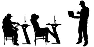 Vector silhouette of a people with a computer. Stock Image