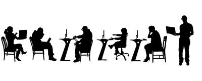 Vector silhouette of a people with a computer. Royalty Free Stock Photo