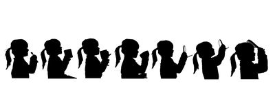 Vector silhouette of people. Vector silhouette of people in different situations Royalty Free Stock Photo