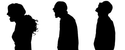 Vector silhouette of people. Vector silhouette of people in different situations Stock Photo