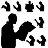 Vector silhouette of people. Vector silhouette of people in different situations Stock Images