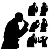 Vector silhouette of people. Vector silhouette of people in different situations Stock Photos