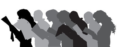 Vector silhouette of people. Vector silhouette of people in different situations Stock Image
