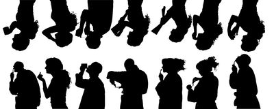 Vector silhouette of people. Stock Photos