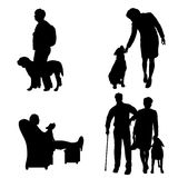Vector silhouette of people with dog. Stock Photo