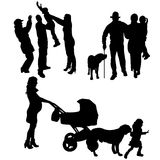 Vector silhouette of people with dog. Royalty Free Stock Images