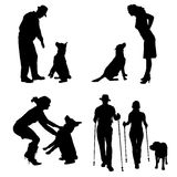 Vector silhouette of people with dog. Royalty Free Stock Photography