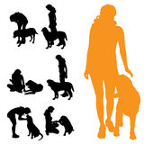 Vector silhouette of people with dog. Royalty Free Stock Photos