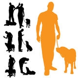 Vector silhouette of people with dog. Royalty Free Stock Image