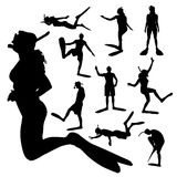 Vector silhouette of a people. Stock Images