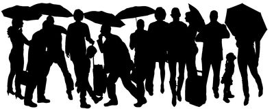 Vector silhouette of people. Stock Photography