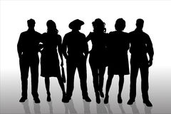 Vector silhouette of a people. Royalty Free Stock Photo
