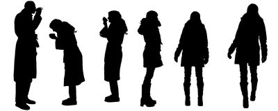 Vector silhouette of people. Stock Images