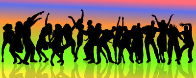 Vector silhouette of people who dance. Stock Image