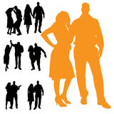 Vector silhouette of people. Stock Image