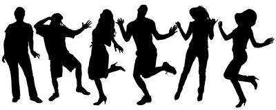 Vector silhouette of a people. Vector silhouette of a people who dances on a white background stock illustration