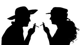 Vector silhouette of people. Vector silhouette of people who smoke on a white background Stock Photography