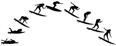 Vector silhouette of a people. Vector silhouette of a people who surfs Royalty Free Stock Photos