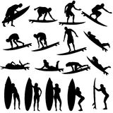 Vector silhouette of a people. Vector silhouette of a people who surfs Stock Image