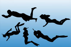 Vector silhouette of people who swim. Stock Photography