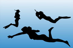 Vector silhouette of people who swim. Stock Image