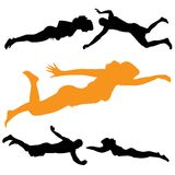 Vector silhouette of people who swim. Royalty Free Stock Photo