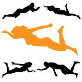 Vector silhouette of people who swim. Stock Photos