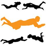 Vector silhouette of people who swim. Stock Photo