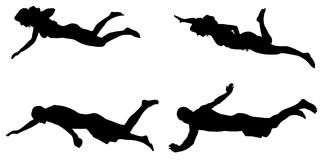 Vector silhouette of a people who swim. Stock Photography