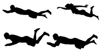Vector silhouette of a people who swim. Royalty Free Stock Images