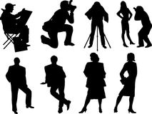 Vector silhouette of photographers and models Stock Photography