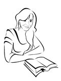 Vector silhouette - portrait of a beautiful girl with the book royalty free illustration