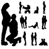Vector silhouette of a pregnant woman. Stock Photos