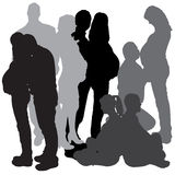 Vector silhouette of a pregnant. Stock Photos
