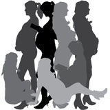 Vector silhouette of a pregnant. Royalty Free Stock Photos