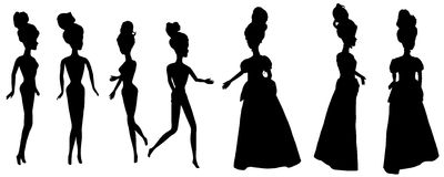 Vector silhouette of a princess. Royalty Free Stock Photography