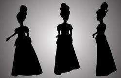 Vector silhouette of a princess. Royalty Free Stock Images