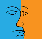 Vector silhouette profile man and woman face Royalty Free Stock Photography