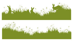 Vector silhouette rabbits in grass background. Background is my creative handdrawing and you can use it for season, nature, Easter design and etc, made in Stock Images