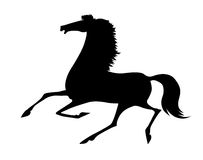 Vector silhouette running horse Stock Photos