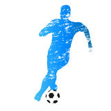 Vector silhouette of running soccer player Royalty Free Stock Photo