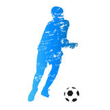 Vector silhouette of running soccer player Stock Photo